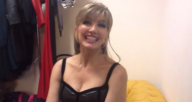 Dirty blonde female Milly Moris flaunts her nice melons after stripping  681565